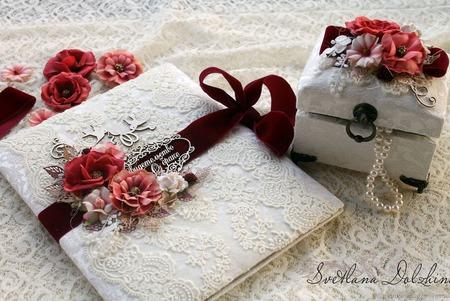 Набор свадебный папка для св-ва шкатулка для колец белый бордовый ручной работы на заказ