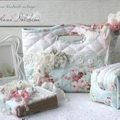 Комплект сумка косметичка блокнот текстиль голубой шебби