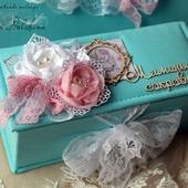 """Коробочка """"Мамины сокровища""""  для девочки бирюзовая розовая"""