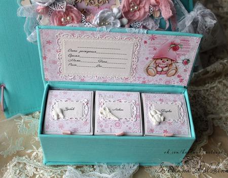 """Коробочка """"Мамины сокровища""""  для девочки бирюзовая розовая ручной работы на заказ"""