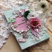 """Шоколадница """"С днем рождения"""" коробка для подарка розовый салатовый"""