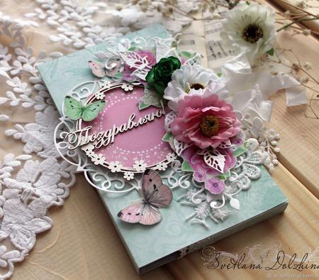 """Шоколадница """"С днем рождения"""" коробка для подарка розовый салатовый ручной работы на заказ"""