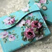 Комплект блокнот-клатч открытка в коробочке бирюзовый цветы