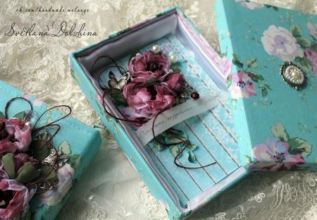 Комплект блокнот-клатч открытка в коробочке бирюзовый цветы ручной работы на заказ