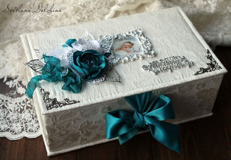 """Шкатулка """"Мамины сокровища"""" для мальчика коробочка белый бирюзовый ручной работы на заказ"""