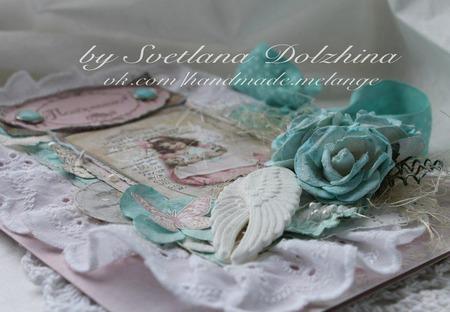 """Открытка """"Поздравляю""""на крестины для девочки розовый мятный ручной работы на заказ"""