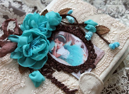 """Блокнот """"Доченька""""мамин дневник для девочки белый бирюзовый ручной работы на заказ"""