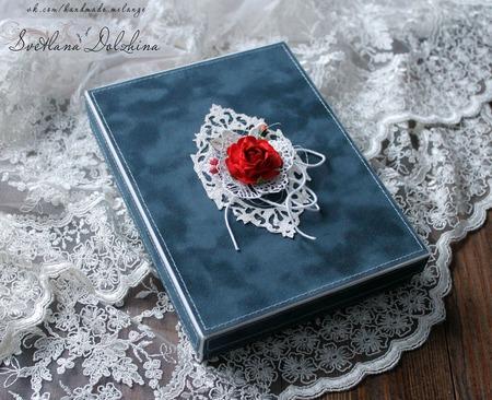 Открытка с днем рождения для девушки в коробке бархат синий ручной работы на заказ