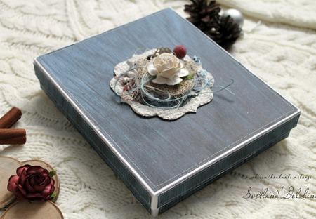 Открытка с днем рождения в коробке синий ручной работы на заказ