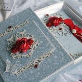 Открытка любимой в коробке для девушки синий красный