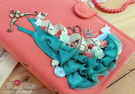"""Блокнот """"Швея"""" для рукодельницы подарок коралловый бирюзовый ручной работы на заказ"""