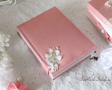 """Блокнот """"Принцесса"""" мамин дневник в коробке для девочки розовый ручной работы на заказ"""