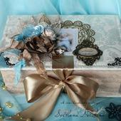"Коробка ""Мамины сокровища"" шкатулка бежевый бирюзовый для мальчика"