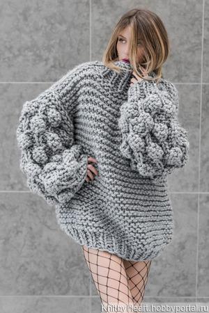 Дизайнерский вязаный свитер оверсайз ручной вязки ручной работы на заказ