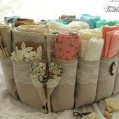 Органайзер для хранения ткани для рукодельницы бежевый