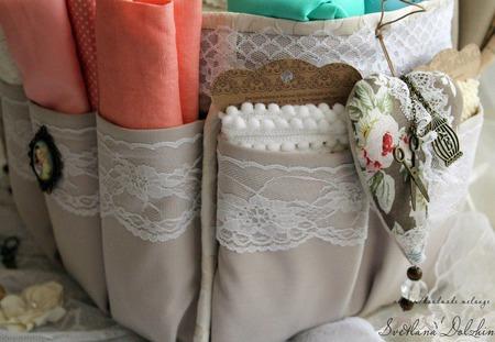 Органайзер для хранения ткани для рукодельницы бежевый ручной работы на заказ