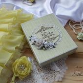 """Свадебная открытка """"С днем свадьбы"""" в коробке зеленый белый подарок"""