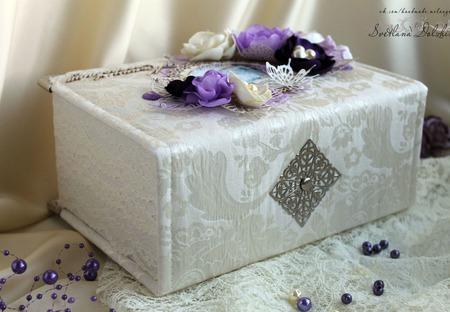 """Шкатулка """"Мамины сокровища""""  для девочки коробка белый фиолетовый ручной работы на заказ"""