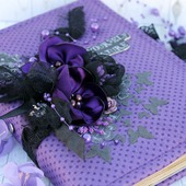 Блокнот для записей для девушки фиолетовый черный хлопок