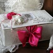 """Коробочка """"Мамины сокровища"""" шкатулка для девочки белый фуксия"""