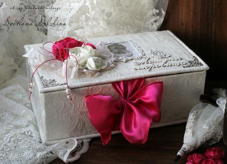 """Коробочка """"Мамины сокровища"""" шкатулка для девочки белый фуксия ручной работы на заказ"""