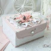 Шкатулка ручной работы для девочки белый розовый