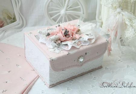 Шкатулка ручной работы для девочки белый розовый ручной работы на заказ