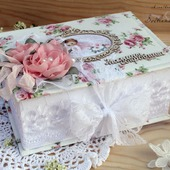 """Шкатулка""""Мамины сокровища""""для девочки коробка белый розовый"""