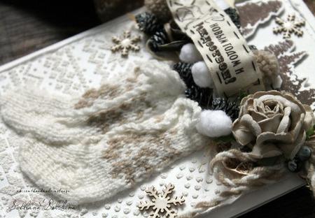 Открытка С новым годом в коробке белый бежевый новый год подарок ручной работы на заказ