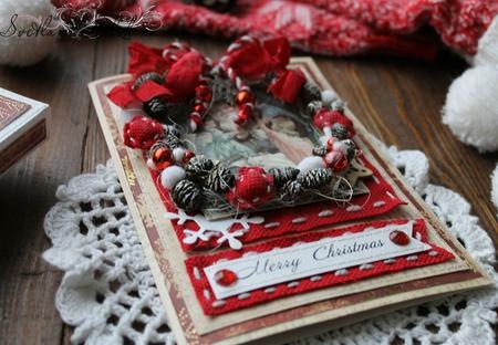 Открытка новогодняя в коробке бордовый золотой новогодний венок ручной работы на заказ