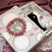 Шоколадница свадебное в коробке белый розовый подарок молодоженам