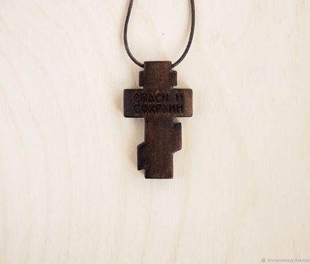 """""""Боровск"""" деревянный нательный крест-распятие из кипариса ручной работы на заказ"""