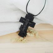 """""""Касимов"""" крест с молитвой, деревянный нательный крест-распятие"""