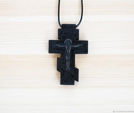 """""""Касимов"""" крест с молитвой, деревянный нательный крест-распятие ручной работы на заказ"""