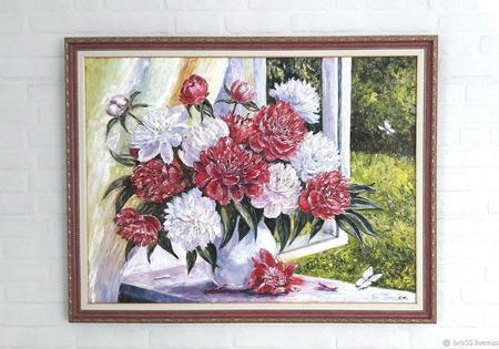 Картина маслом Букет на окне ручной работы на заказ
