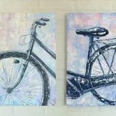 Модульная картина маслом Велосипед