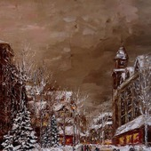 Картина маслом Зимний вечер