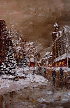 Картина маслом Зимний вечер ручной работы на заказ