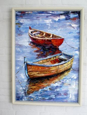 Картина маслом Лодки ручной работы на заказ