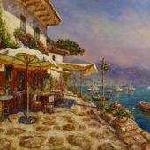 Картина маслом Кафе на набережной