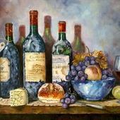 Картина маслом Натюрморт с вином и фруктами
