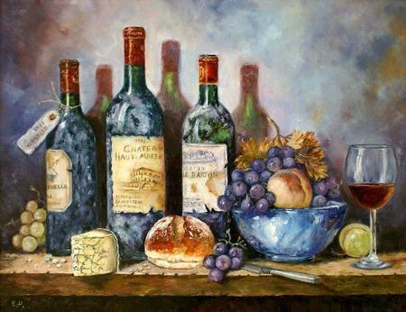 Картина маслом Натюрморт с вином и фруктами ручной работы на заказ