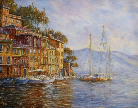 Картина маслом Утро в Портофино ручной работы на заказ