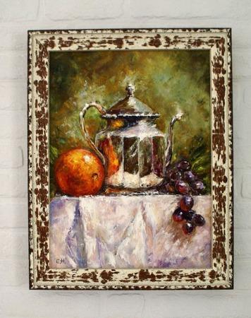 Картина маслом Апельсин и виноград ручной работы на заказ