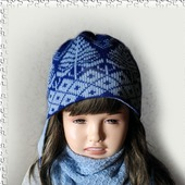 "Жаккардовая шапочка с ушками ""Зима в лесу"""