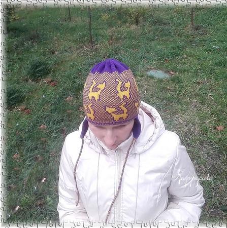 """Жаккардовая шапочка с ушками """"Зима в лесу"""" ручной работы на заказ"""