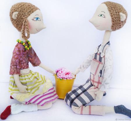 Куклы влюбленная парочка. Цена за 2 шт! Подарок ко дню влюбленных. ручной работы на заказ