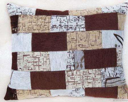 """Декоративная подушка в стиле лофт """"Кирпичная стена"""" ручной работы на заказ"""