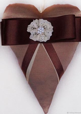 Набор текстильных сердец из 4 шт.  Интерьерная подвеска! ручной работы на заказ
