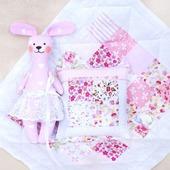 Комплект кукольное одеяло + зайка. Розовый комплект подушка, одеяло.